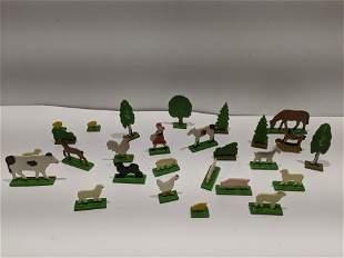 Large Lot Painted Wood East German Animal & Tree Toys
