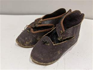 Pair c 1890's Jumeau French Doll Shoes w/ Socks