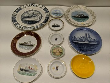 Lot 11 Assorted Steamship Porcelain Plates & Dishes