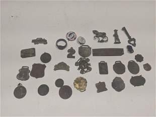 Large Lot Antique War Medals Badges Tags Pendants etc