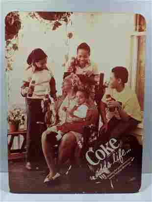 1970's Coca-Cola Coke Adds Life Black Family Photo Sign