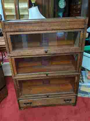 Globe-Wernicke Oak Mission Stacking Bookcase W/ Drawer