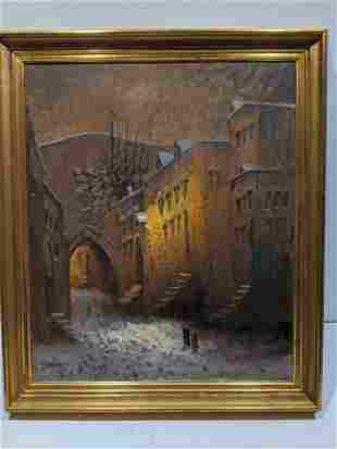 Signed Kames Cobblestone Street at Night Oil Painting