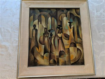 1976 Han Snel Abstract Bali Women Oil Painting