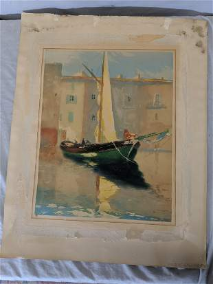 1870 Gilbert Galland Sailboat Color Lithograph
