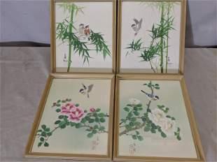 Set 4 Vintage Japanese Watercolor Paintings Bird on Bra