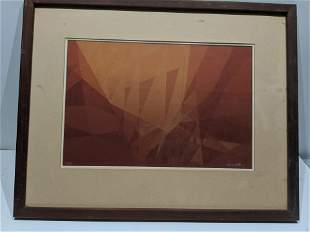 Mid-century Abstract Lithograph Signed James A Roma ?