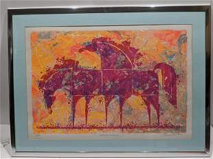 Signed Golden Dreams Abstract Horses Ltd ED Lithograph