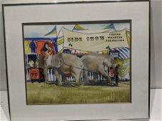 Bertha Sherwood Sideshow Elephants Watercolor Painting