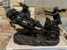 Friedrich Gornik Large  Bronze Roman Chariot Statue