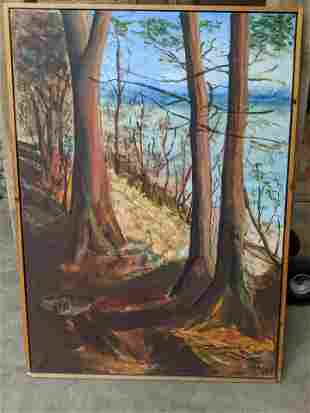1950's Large Signed Forest Scene Oil Painting