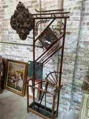 Vintage Bamboo & Brass Coat Rack & Umbrella Stand