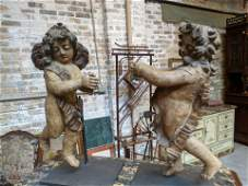 Pair Early 18th Century Carved Wood Cherub Figures
