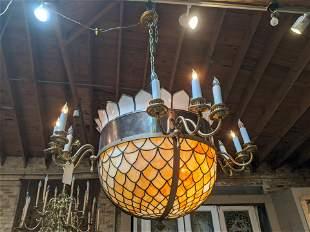 Antique Leaded Slag Glass Large Ceiling Fixture