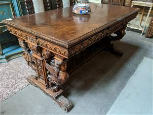 Antique Heavily Carved Walnut Library Table