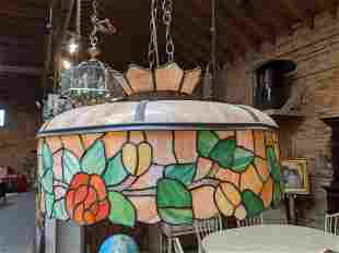 Antique Leaded Stained Slag Glass Light Fixture