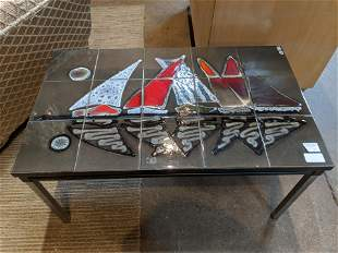 Mid-Century Modern Sailboat Tile Coffee Table