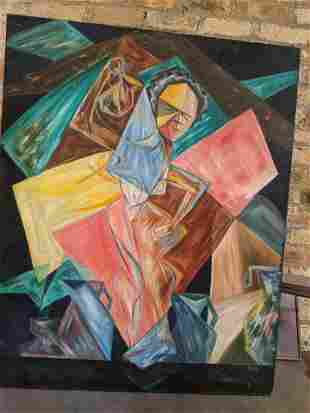Theocharis Mores Abstract Figures Oil Painting