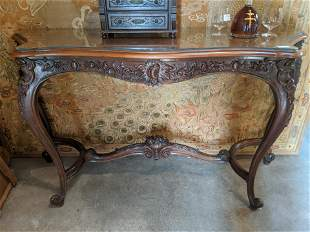 Antique Carved Walnut French Console Table
