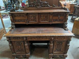 Antique French Heavily Carved Walnut Desk