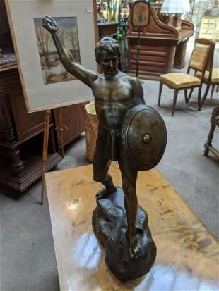 Ernest Fuchs Male Hunter Bronze Statue