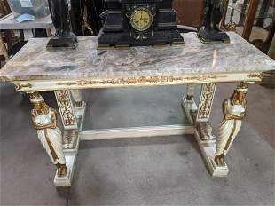 Antique Carved Italian Console Table w/ Marble Top