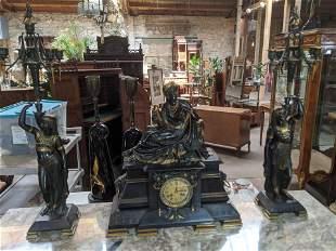 Egyptian Revival Bronze & Black Slate Mantel Clock Set