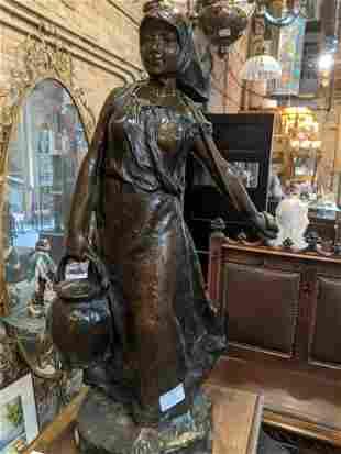 Antique Anatole Guillot Bronze Girl w/ Pail