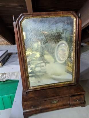 c1830 Burled Walnut Dresser Mirror w/ Drawer