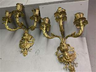 Pair Brass French 3 Arm Candle Wall Sconces