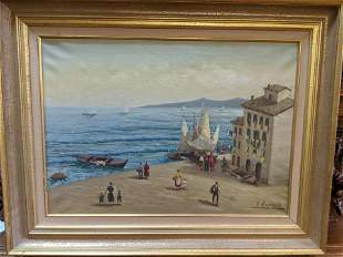 Vincent Esposito Italy Beach Scene Oil Painting