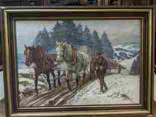 Schneider Signed Oil Painting Horses Pulling Logs