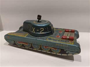 Marx Linemar Tin Litho Friction X-2 Tank