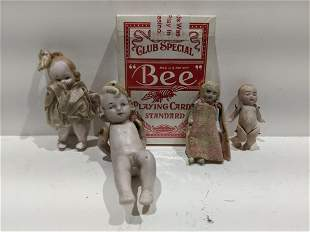 Lot 4 Antique German Bisque Miniature Baby Dolls