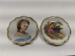 2 Antique Limoges France Porcelain Miniature Plates
