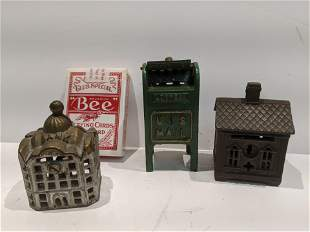 Lot 3 Antique Cast Iron Miniature Still Banks