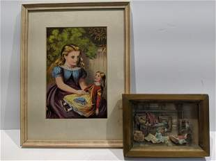 Lot 2 Vintage Doll Shadowbox & Girl w/ Doll Print