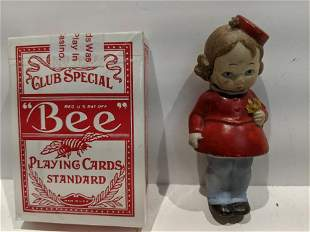 Early Porcelain German Nodder Little Girl w/ Flower