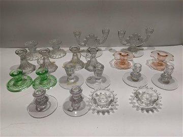 10 Pairs Depression Glass Short Candleholders Heisey