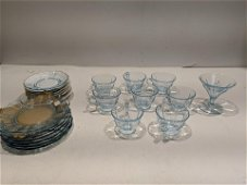 Lot 24 Blue Tint Baroque Cups Saucers Plates & Wine