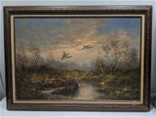 Signed Large Ducks Over Pond Oil Painting