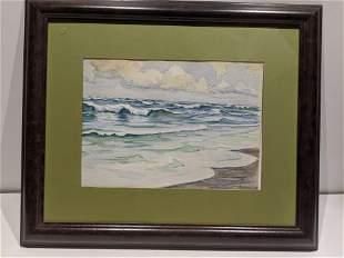 1946 Paul Spotter Watercolor Painting of Seashore