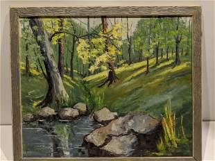 Vintage Alice Wetterson Brook in Woods Oil Painting