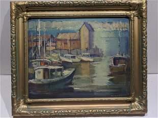 Signed Vintage Harbor Scene Oil Painting