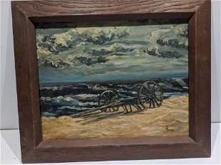 E James Signed Western Beach Scene Oil Painting