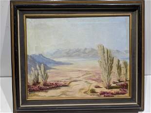 1949 Knox Thomas Desert Scene Oil Painting