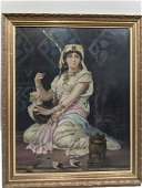 Antique Painting Egyptian Woman Playing Harp