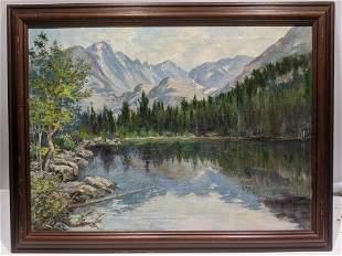 1959 Lyle Ball Bears Lake Colorado Oil Painting