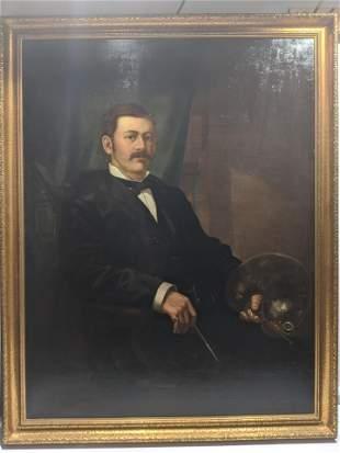 Antique C Harry Eaton Portrait of Artist Large Painting