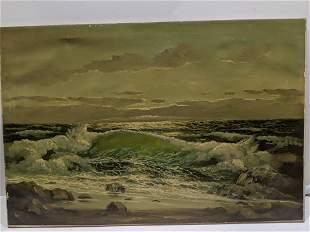 Early John Warr Seascape Oil Painting